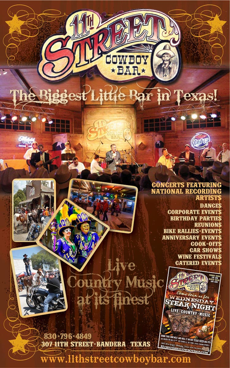 11th Street Cowboy Bar - The Biggest Little Bar In Texas, serving up beer and country western swing music in Bandera, Texas